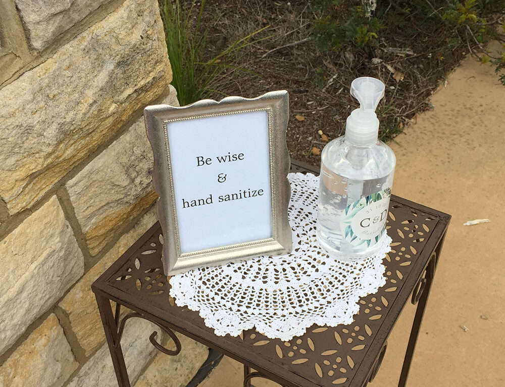 hand sanitize wedding ceremony