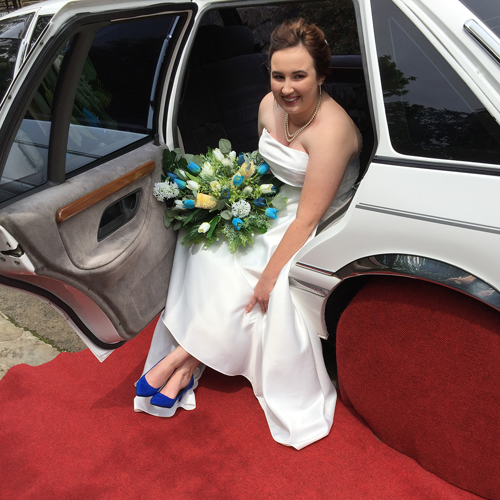 Bride with blue shoes