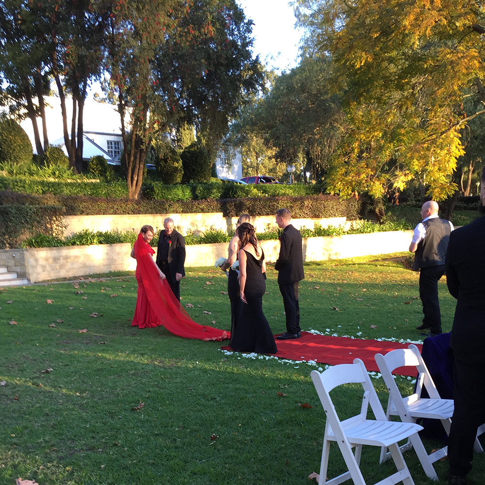 red bride train